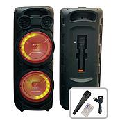 Портативна Бездротова Bluetooth колонка+світломузика, бездротовий мікрофон,караоке ZDS-8208