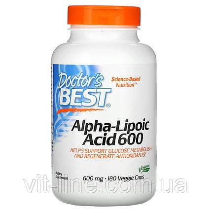 Doctor's s Best, альфа-ліпоєва кислота, 600 мг, 180 капсул, фото 2