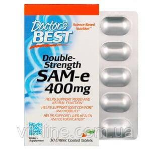 Doctor's s Best, Double-Strength SAME (Подвійна сила, S-аденозилметионин), 400 мг, 30 таблеток, вкритих