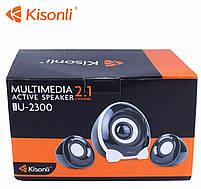 Колонки Kisonli U-2300 для пк акустические компьютерные USB колонки акустика 2.1, фото 4