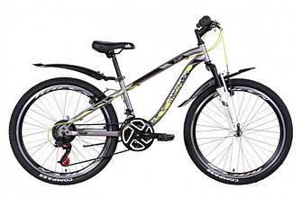 """Велосипед 24"""" DISCOVERY FLINT AM Vbr 2021 (cеребристо-черный с жёлтым 13"""")"""