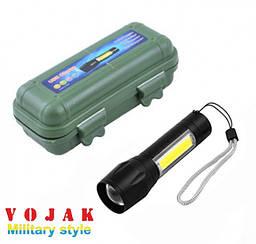 Светодиодный ручной фонарь Bailong Police BL-511 на аккумуляторе с COB ZOOM USB в кейсе