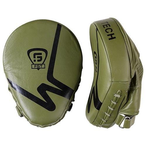 Боксерские лапы-кобры для бокса и единоборств изогнутые FGT Кожа Оливковый (FG5941G)