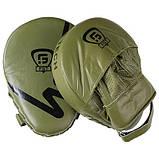Боксерские лапы-кобры для бокса и единоборств изогнутые FGT Кожа Оливковый (FG5941G), фото 3