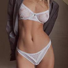 Сексуальный кружевной комплект нижнего белья белый S/M