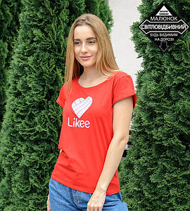 -Р- Футболка женская с отворотом Likee Красный (0930жр), XXL