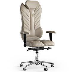 Кресло KULIK SYSTEM MONARCH Кожа с подголовником со строчкой Бежевый 2-901-WS-MC-0104 ZZ, КОД: 1668885