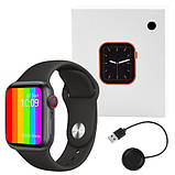 Розумні годинник Смарт годинник Smart Watch W26 ЗА ZK16 з сенсорним екраном і пульсометром чорні + подарунок, фото 4