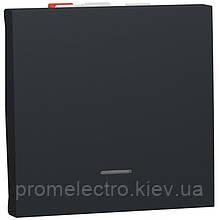 Переключатель 1-клавишный проходной с подсветкой, 10А, 2 модуля, антрацит, Unica NEW NU320354S
