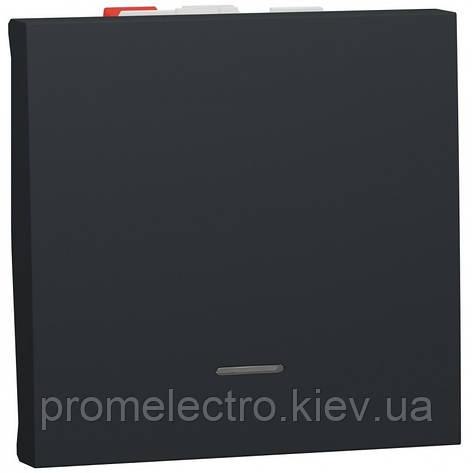 Переключатель 1-клавишный проходной с подсветкой, 10А, 2 модуля, антрацит, Unica NEW NU320354S, фото 2