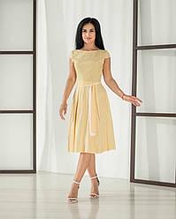 Женское, летнее, романтичное платье миди, ткань штапель,  р. 44,46,48,50,52., желтый принт