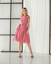 Женское, летнее, романтичное платье миди, ткань штапель,  р. 44,46,48,50,52., красный принт