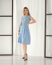 Женское, летнее, романтичное платье миди, ткань штапель,  р. 44,46,48,50,52., голубой принт