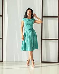 Женское, летнее, романтичное платье миди, ткань штапель,  р. 44,46,48,50,52., зеленый принт