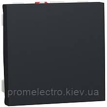 Выключатель кнопочный, 10А, 2 модуля, антрацит, Unica NEW NU320654