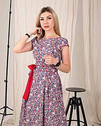 Женское, летнее, романтичное платье миди, ткань штапель,  р. 44,46,48,50,52., сирень  принт