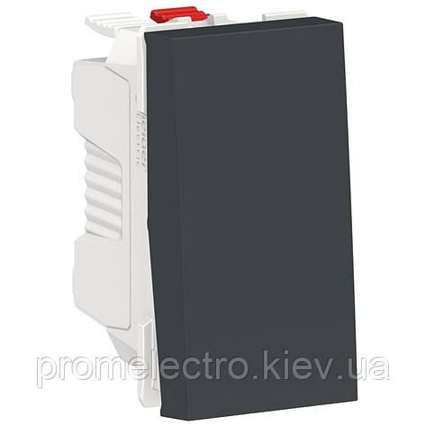 Выключатель кнопочный, 10А, 1 модуль, антрацит, Unica NEW NU310654, фото 2