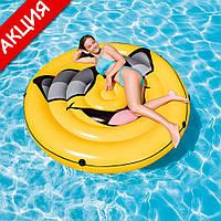 Надувной плотик для бассейна Крутой парень 173х27 см Intex 57254 Плот для моря для детей и взрослых Интекс ПВХ