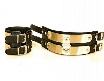 Кожаные наручники со вставками из латуни  Bomba💣
