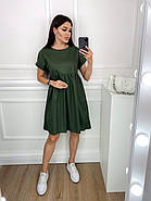 Нарядное котоновое платье с завышенной талией, короткий рукав, фото 4