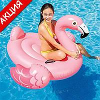 Надувной плотик Фламинго Intex 57558 142х137х97см Детский плот для плавания Интекс розовый для бассейна ПВХ