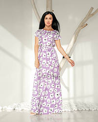 Женское, летнее, романтичное платье в пол, ткань софт,  р. 44-46,48-50,52-54., сирень