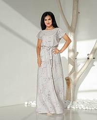 Женское, летнее, романтичное платье в пол, ткань софт,  р. 44-46,48-50,52-54., принт
