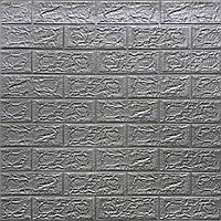 Lb Стеновая 3D панель, мягкая, самоклеющаяся, декоративная 3д самоклейка обои под кирпич Серебро 700х770х5мм