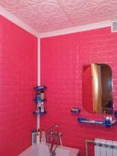 Lb Стеновая 3D панель мягкая самоклеющаяся декоративная 3д самоклейка обои под кирпич Темно-розовый