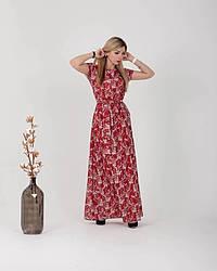 Женское, летнее, романтичное платье в пол, ткань софт,  р. 44-46,48-50,52-54., красный принт