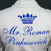 Халат с вышивкой ажурной цветочной короны и фамильной вышивкой