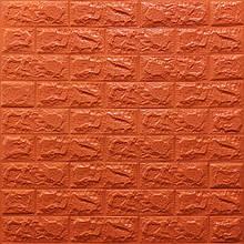 Lb Модульная 3D панель гибкая на клейкой основе декоративная 3 д самоклейка на стену под кирпич Оранжевый