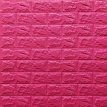 Lb Модульная 3D панель гибкая на клейкой основе декоративная 3 д самоклейка на стену под кирпич Темно-розовый