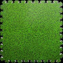 Мат татами пазл ЭВА модульное покрытие на пол EVA ласточкин хвост складной коврик 60х60х1 см зеленая трава