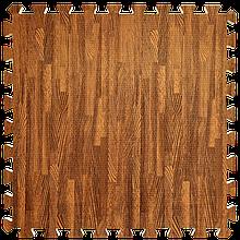 Мат татами пазл ЭВА модульное покрытие на пол EVA ласточкин хвост складной коврик 60х60х1 см красное дерево