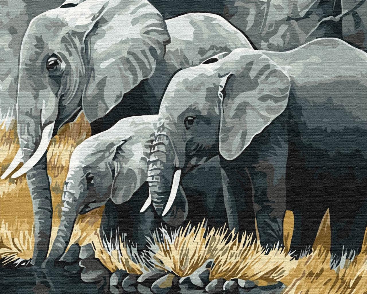 """Картина за номерами """"Сім'я слонів"""""""
