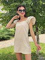 Женское платье из льна бежевая полоска  Poliit 8835, фото 1