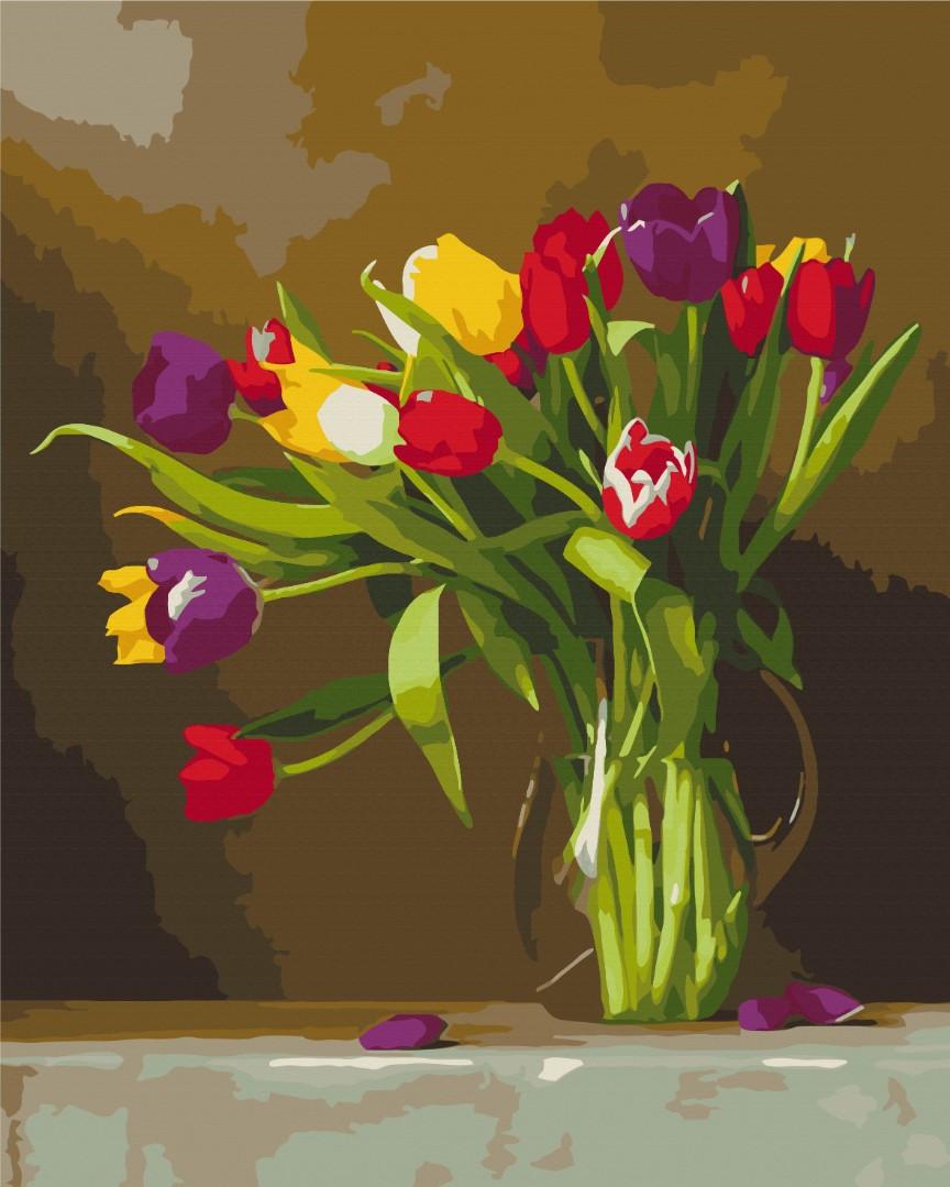 """Картина за номерами """"Кольорові тюльпани"""""""