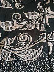 Бежевая вязаная кофта на молнии для полных Цветы, фото 2
