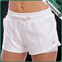 Распродажа! Шорты спортивные для тренировок фитнеса двойные женские V&S Лайкра Белый (TH504)