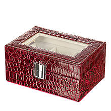 """Скринька для годинників """"Класика"""", 3 відділу (red)"""