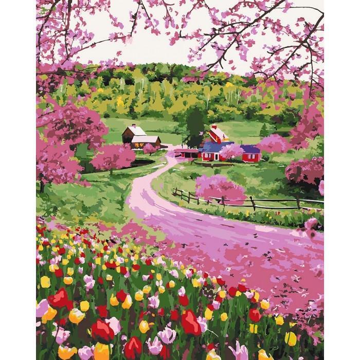 Картина рисование по номерам KHO2254 Идейка Весеннее разноцветье 40х50см набор для росписи по цифрам, краски,