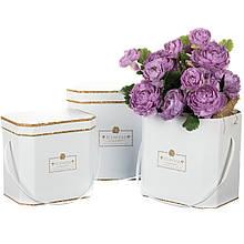 """Коробка для квітів набір 3 шт. """"With love"""" білі"""