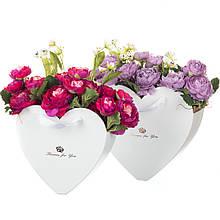 """Коробка для квітів набір 2 шт. """"Серця"""" білі"""