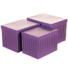 """Набір коробок """"Zigzag"""" (прямокутник, фіолетовий колір) 3шт."""