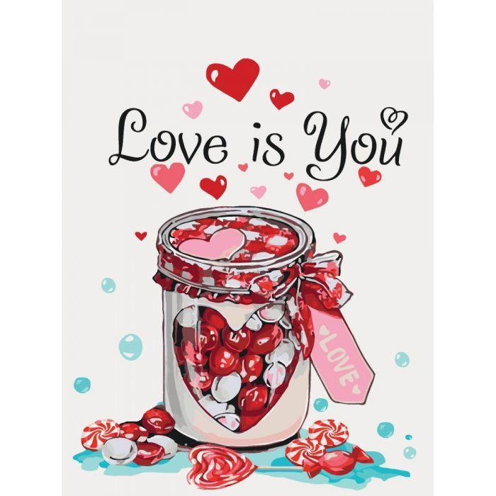 Картина рисование по номерам KHO5526 Идейка Love is you 30х40см набор для росписи по цифрам, краски, кисти,