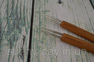 Крючок для вязания двойной с деревянной ручкой, №0,5