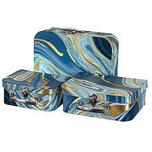 """Набір з 3 коробок """"Валіза"""" синій"""