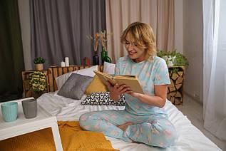 Нежная женская хлопковая пижама голубого цвета с футболкой и штанами в перышки на подарок девушке/жене/подруге