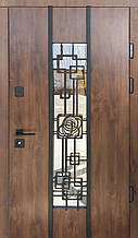 Двери уличные, модель Thermo Steel 21-03, 2 замка, стелопакет, ковка
